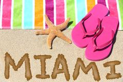 Miami, Florida beach travel background - MIAMI written in sand Kuvituskuvat