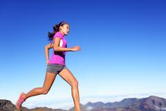 Running sports fitness runner woman jogging Stock Photos