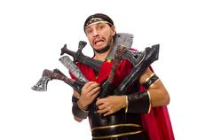 Gladiator with armament isolated on white - stock photo