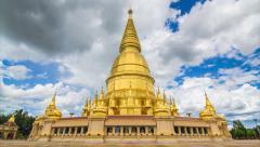 Golden Pagoda Sri Vieng Chai Of Lamphun, Thailand Stock Footage