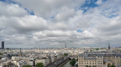 Paris skyline with Eiffel Tower in Paris, Time Lapse Stock Footage