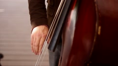 contrabass player at theatre - stock footage