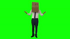 Businessman standing with box over his head Stock Footage