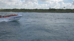 Riding a speedboat in the Dominican Republic Stock Footage