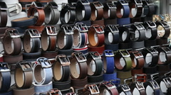 Colorful suede trouser belts shop Stock Footage