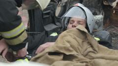 SEVASTOPOL,CRIMEA/RUSSIA- Rescuers, applying a splint, firemen training Stock Footage