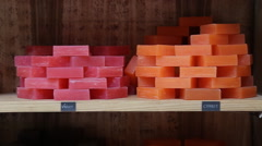 Stock Video Footage of different handmade soaps