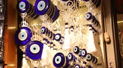 Fatima eye amulet in Istanbul Stock Footage