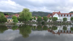 4k Harz village Ilsenburg center with lake and gastronomy Stock Footage