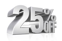 3D render silver text 25 percent off. Stock Illustration