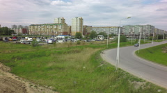 Panorama of modern residential district on the Left Bank Stock Footage