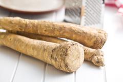Fresh horseradish root Stock Photos