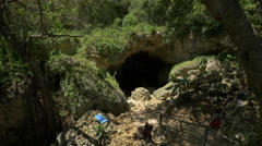 Visiting the cave in Dominican Republic Stock Footage