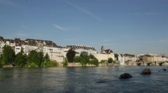 Rhine River in Basel Stock Footage