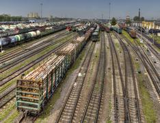 Ready for delivery freight wagons Classification yard of Russian Railways. Stock Photos