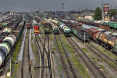 Freight trains ready to depart for shunting yard, Russia. - stock photo