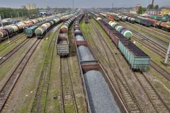 Carriages of freight trains on commercial railway, St. Petersburg, Russia. Stock Photos