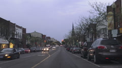 Driving in Downtown Oakville early evening Stock Footage
