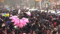 People visit a busy shopping street in Kolkata, India Stock Footage