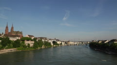 Rhine River in Basel - stock footage