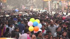 Crowded shopping street in Kolkata, India - stock footage