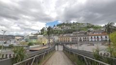 Pedestrian bridge on Boulevard 24 de Mayo, Quito Stock Footage
