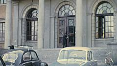Uppsala 1967: people entering into the University building Stock Footage