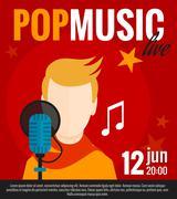 Stock Illustration of Pop Singer Flat Poster