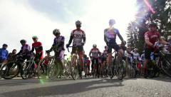 Cycling road race start line - stock footage