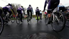 Cycling road race starting line Stock Footage