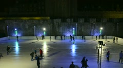 Ice skating at The Tower of London, UK Stock Footage
