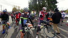 Cycling road race starting line - stock footage