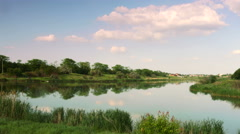 River in the evening. panoramic view 2 Stock Footage
