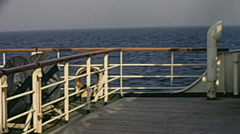 View from the back of a passenger ship in 1968 Stock Footage