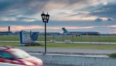 Sunset at New Orleans International Airport with Traffic Stock Footage