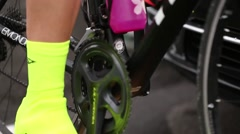 Feet on bike pedals - stock footage