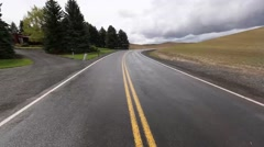 Driving down a Palouse road Stock Footage
