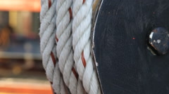 Pulley rigging boat rope - stock footage