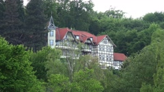 4k Beautiful building in Ilsenburg forest Harz mountain range Stock Footage