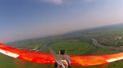 Plane  drone flight  in air without motor . POV  clip   Stock Footage