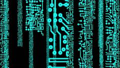 PCB Printed Circuit Board Chip Matrix Stock Footage