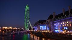 The London Eye, Millenium Wheel, London, UK Stock Footage