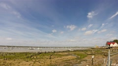 Timelapse pan along the costline at West Mersea in Essex  Stock Footage