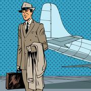 Male passenger air traveler business trip businessman pop art re - stock illustration