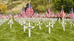Many crosses flags waving in tribute for all the veterans burried in the cemeter Stock Footage