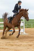 Close side view of  horsewoman on a brown horse - stock photo