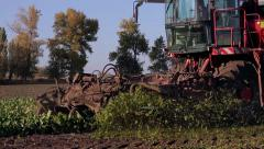 Large plow of harvester for harvesting of beet. Stock Footage
