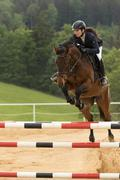 Closeup view of dark haired horsewoman jumping - stock photo