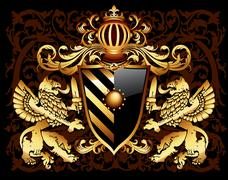 ornamental heraldic shield - stock illustration
