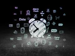 Time concept: Alarm Clock in grunge dark room Stock Illustration